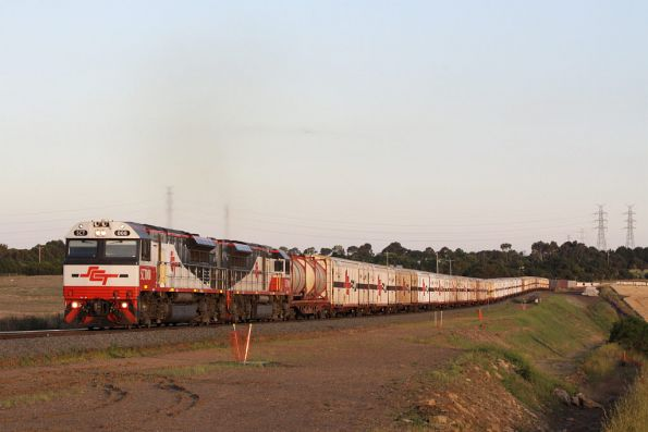 Coming up to the top of the grade at Moorabool, SCT008 leads SCT009 past the track duplication works