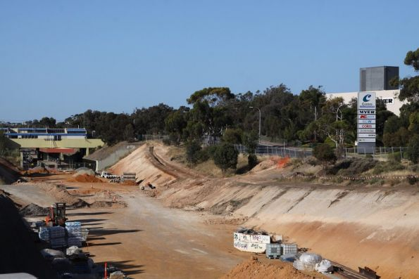 Cutting at Goldsmith Drive, looking back to Noarlunga Centre