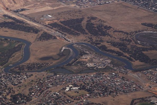 Aerial view of the Onkaparinga River bridge, looking south-west