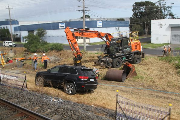 Clearing the alignment of the temporary track slew at the down end of Seaford Road