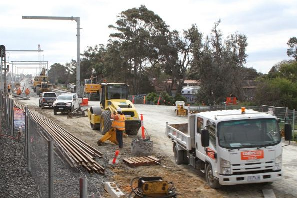 Track laying underway for the future elevated tracks over Seaford Road