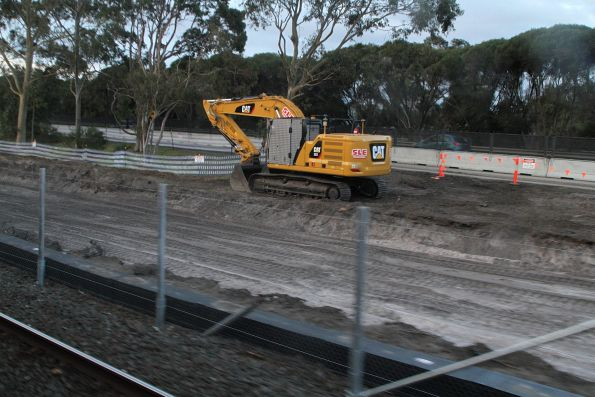 Clearing beside the tracks at Kananook, for the future stabling yard headshunt