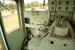 Vandalised cab interior of locomotive No. 125