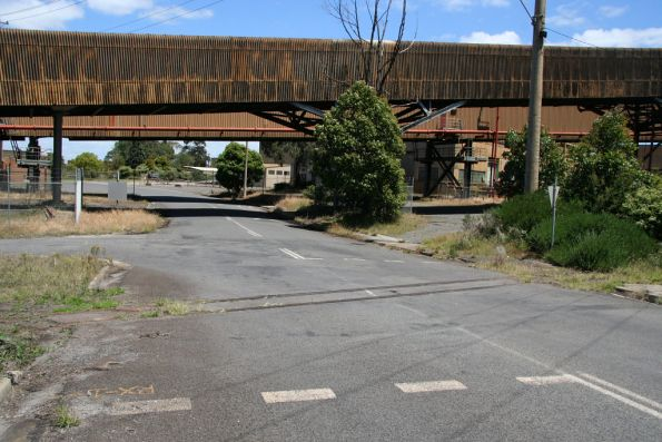 Remains of the 900 mm track in a level crossing outside the Yallourn W power station