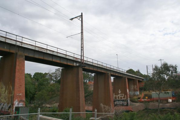 Looking south-west along the current Merri Creek bridge