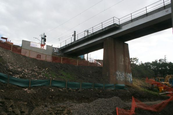 Looking at the south abutment of the new Merri Creek bridge