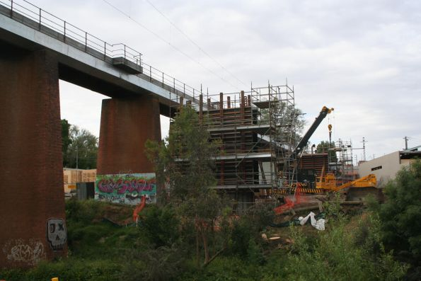 Looking north along the new Merri Creek bridge