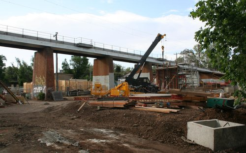 Under the new Merri Creek bridge from the east