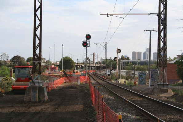 Looking up the line towards the new Merri Creek bridge