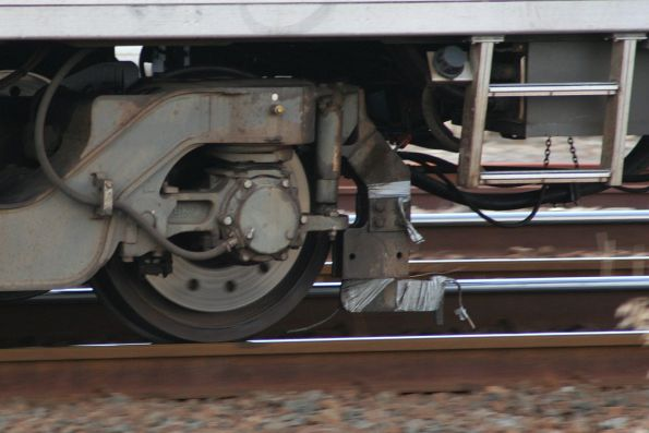 Water hoses for brake testing on the leading bogie of Siemens 725M