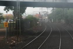 Starting point of the Siemens slip and slide - 30 km/h speedboard for Siemens trains approaching platforms with a level crossing at the departure end, here are Yarraville on the down