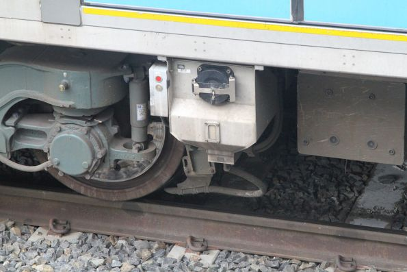 Sanding gear beneath a Siemens train