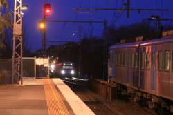 Two trains banked up before the stopped train at Newmarket station