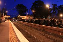 Packed platform at Newmarket, after the previous train had to dump an entire peak load due to a faulty door