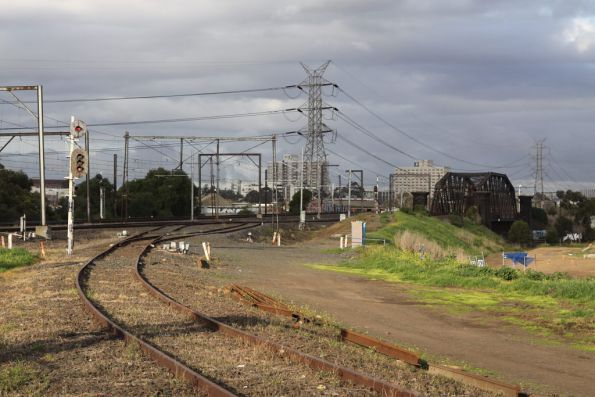 Signals still lit for the Maribyrnong River goods line, even though it is booked out