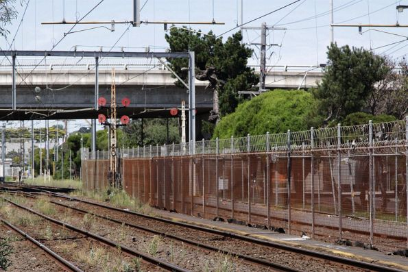Array of disc signals at the up end of Frankston for down trains