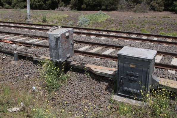 1929-era signalling cabinets along the Sydenham line at Albion
