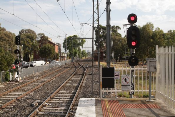 Signals and crossover at the up end of Coburg station
