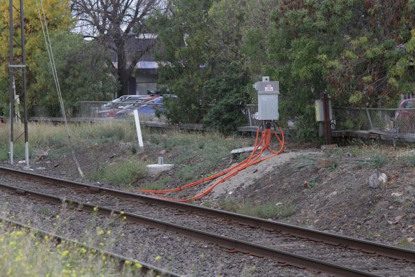 New impendance bonds installed at the Hudsons Road level crossing at Spotswood