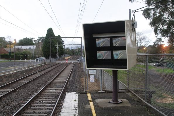 SPOT monitor at the up end of Riversdale platform 2