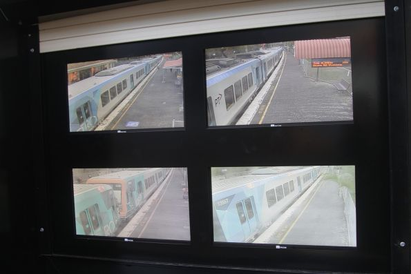 LCD screens installed in a SPOT monitor at the end of a platform