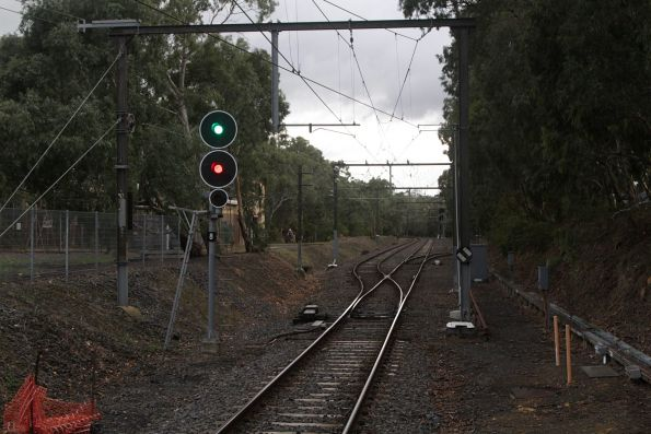 Signal 8 at the up end of Ashburton controlling access to the double track and siding
