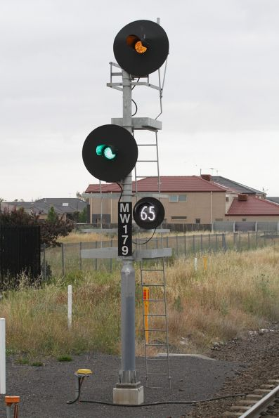 Signal MW179  cleared for a down Geelong line train at Deer Park