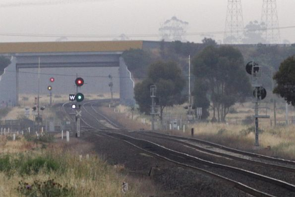 Signal cleared for a down Geelong line train at Deer Park Junction