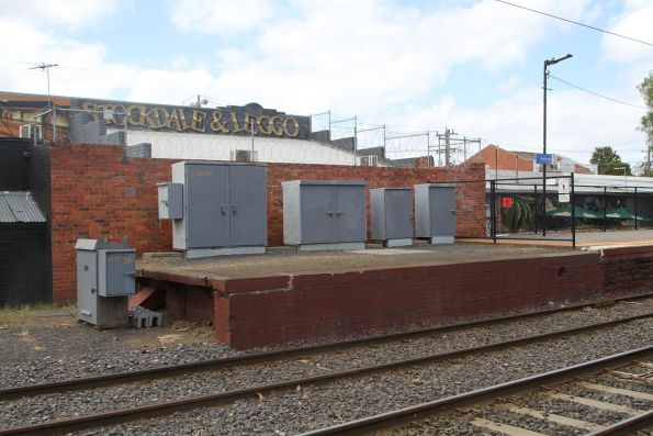 Signal cabinets on the disused up end of Glenhuntly platform 3