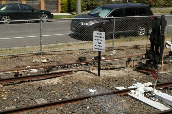 'Track machines must not foul beyond this point' sign at Frankston