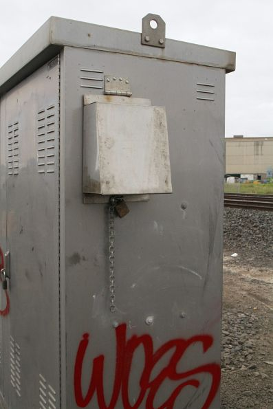Locked box attached to a level crossing equipment box