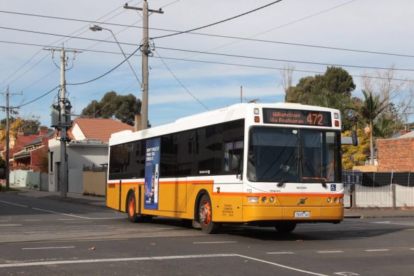 Sita bus #112 rego 7925AO on route 472 crosses Union Road in Ascot Vale