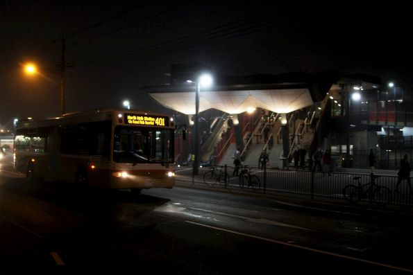 Sita #119 rego 9377AO passes Footscray station, headed back to the depot after running route 401 shuttles all day