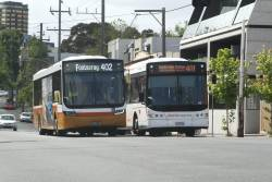 Sita buses BS01AU on route 402 and 6727AO on route 401 on Arden Street in North Melbourne