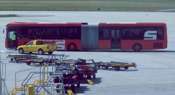 SkyBus articulated bus on the tarmac at Melbourne Airport for some reason