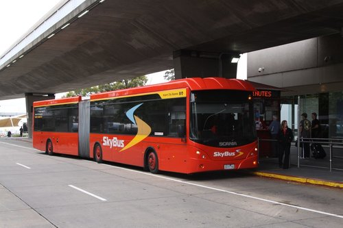 SkyBus articulated bus 0237AO outside the Virgin Australia terminal at Melbourne Airport