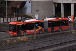 SkyBus articulated bus #75 departs Southern Cross Station
