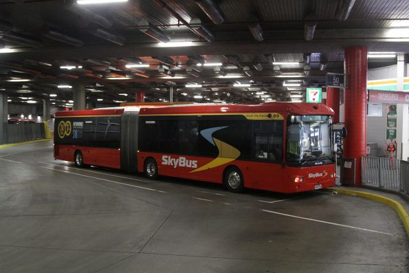 SkyBus articulated bus 7487AO awaiting departure from Southern Cross Station