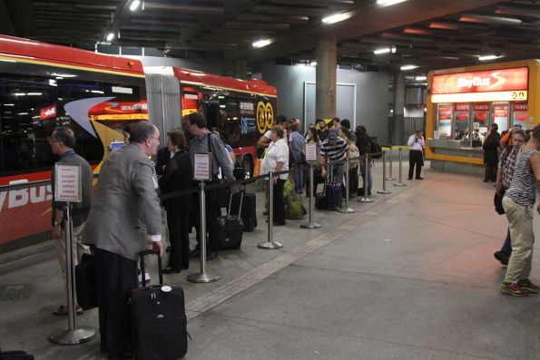 Queue of intending SkyBus passengers at Southern Cross