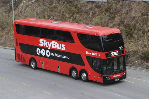 SkyBus double decker #103 BS01LU arrives at Southern Cross