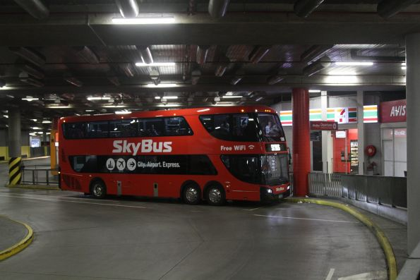 SkyBus double decker #106 BS01WY awaiting departure from Southern Cross