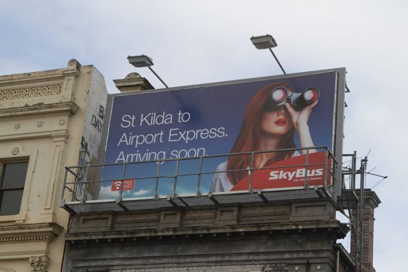 SkyBus billboard following their takeover of the Frankston & Peninsula Airport Shuttle (FAPAS) service