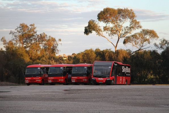 Skybus hotel transfer buses #33, #32, #31 and #40 parked at their West Melbourne depot
