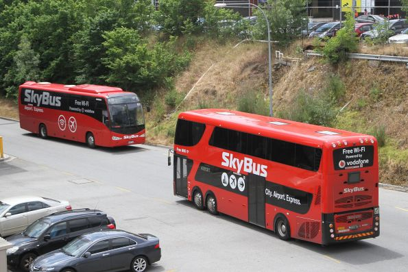 Skybus double decker BS01WY and coach #51 8048AO pass at Southern Cross Station