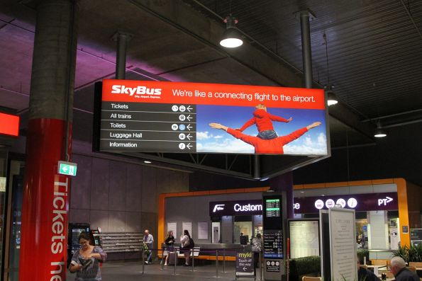 SkyBus advertising at the Bourke Street end of Southern Cross Station