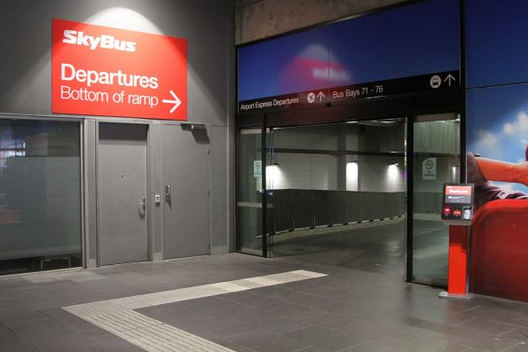 Entry to the SkyBus departure area at Southern Cross Station