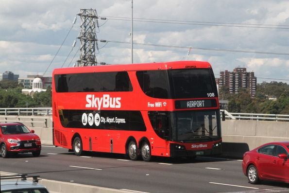 SkyBus double decker #108 BS02IT southbound on CityLink at Footscray Road
