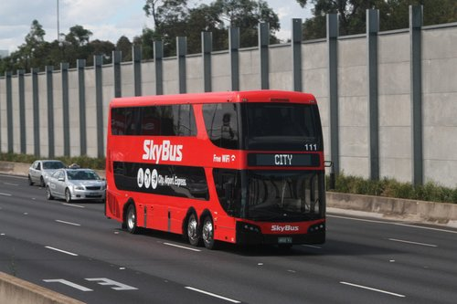 SkyBus double decker #111 BS02KI southbound on CityLink at Moreland Road