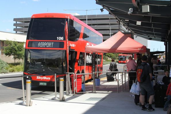 SkyBus double decker #106 BS01WY outside Melbourne Airport Terminal 4