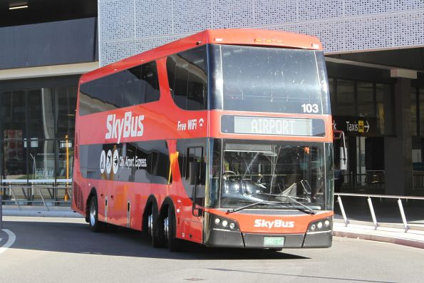 Skybus double decker #103 BS01LU outside Melbourne Airport terminal 4